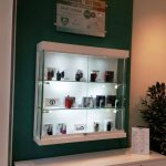 Vape devices in glass cabinet in vape store